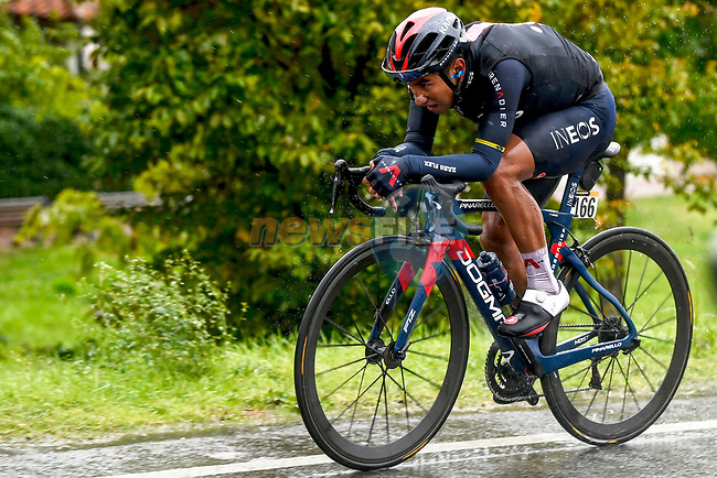 Jhonatan Manuel Narvaez Prado (ECU) Ineos Grenadiers out front alone during Stage 12 of the 103rd edition of the Giro d'Italia 2020 running 204km from Cesenatico to Cesenatico, Italy. 15th October 2020.  <br /> Picture: LaPresse/Fabio Ferrari   Cyclefile<br /> <br /> All photos usage must carry mandatory copyright credit (© Cyclefile   LaPresse/Fabio Ferrari)