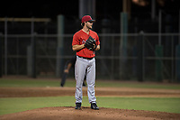 AZL Angels relief pitcher Chase Adkins (97) looks in for the sign during an Arizona League game against the AZL Giants Black at the San Francisco Giants Training Complex on July 1, 2018 in Scottsdale, Arizona. The AZL Giants Black defeated the AZL Angels by a score of 4-2. (Zachary Lucy/Four Seam Images)