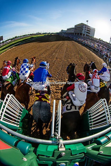 MAY 01, 2021: Jokey Joel Rosario, aboard the #15 Rock Your World has his foot come out of the stirrup at the start of the 2021 Kentucky Derby at Churchill Downs in Louisville, Kentucky on May 1, 2021. EversEclipse Sportswire/CSM