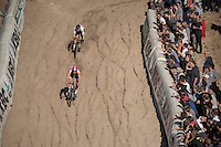 race leaders Mathieu Van der Poel (NED/Beobank-Corendon) & Wout Van Aert (BEL/Crelan-Vastgoedservice) descending into 'The Pit'<br /> <br /> CX Superprestige Zonhoven 2016