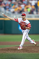 Louisville Cardinals pitcher Bryan Hoeing (27) delivers a pitch to the plate during Game 10 of the NCAA College World Series against the Mississippi State Bulldogs on June 20, 2019 at TD Ameritrade Park in Omaha, Nebraska. Louisville defeated Mississippi State 4-3. (Andrew Woolley/Four Seam Images)