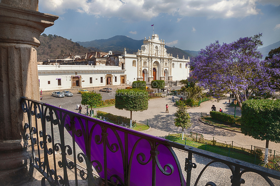 Antigua, Guatemala.  Church of San Jose (Cathedral of Santiago) (St. James), from balcony of the Ayuntamiento (Municipal Town Hall).