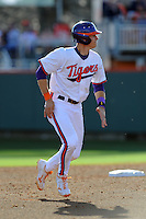 Third Baseman Richie Shaffer #8 of the Clemson Tigers leads off second during  a game against the North Carolina Tar Heels at Doug Kingsmore Stadium on March 9, 2012 in Clemson, South Carolina. The Tar Heels defeated the Tigers 4-3. Tony Farlow/Four Seam Images.
