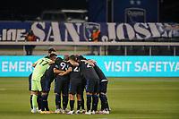 SAN JOSE, CA - SEPTEMBER 19: San Jose Earthquakes players huddle before a game between Portland Timbers and San Jose Earthquakes at Earthquakes Stadium on September 19, 2020 in San Jose, California.
