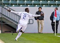 CARSON, CA - March 27, 2012: Wilmer Crisanto (2) of Honduras during the Honduras vs Trinidad & Tobago match at the Home Depot Center in Carson, California. Final score Honduras 2, Trinidad & Tobago 0.