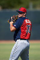 Cleveland Indians Anthony Miller (30) warms up before an instructional league game against the Milwaukee Brewers on October 8, 2015 at the Maryvale Baseball Complex in Maryvale, Arizona.  (Mike Janes/Four Seam Images)