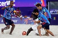 28th August 2021; Luzhniki Stadium, Moscow, Russia: FIFA World Cup Beach Football tournament; Semi final match Japan versus Senegal: Ozu Moreira, Naoya Matsuo and Takaaki Oba from Japan challenges with Raoul Mendy from Senegal, during the match between Japan and Senegal