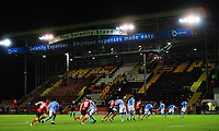 Lincoln City's Jorge Grant takes a free kick<br /> <br /> Photographer Chris Vaughan/CameraSport<br /> <br /> EFL Papa John's Trophy - Northern Section - Group E - Lincoln City v Manchester City U21 - Tuesday 17th November 2020 - LNER Stadium - Lincoln<br />  <br /> World Copyright © 2020 CameraSport. All rights reserved. 43 Linden Ave. Countesthorpe. Leicester. England. LE8 5PG - Tel: +44 (0) 116 277 4147 - admin@camerasport.com - www.camerasport.com