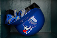 Toronto Blue Jays helmet sits in the rack before a Spring Training game against the Pittsburgh Pirates on March 3, 2016 at McKechnie Field in Bradenton, Florida.  Toronto defeated Pittsburgh 10-8.  (Mike Janes/Four Seam Images)
