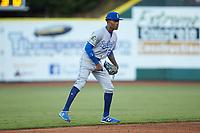 Burlington Royals shortstop Maikel Garcia (2) on defense against the Pulaski Yankees at Calfee Park on August 31, 2019 in Pulaski, Virginia. The Yankees defeated the Royals 6-0. (Brian Westerholt/Four Seam Images)