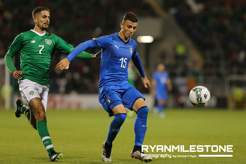 EVENT:<br /> UEFA European U21 Championship Qualifier Group 1 Republic of Ireland v Italy<br /> Thursday 10th October 2019,<br /> Tallaght Stadium, Dublin<br /> <br /> CAPTION:<br /> Enrico Delprato of Italy in action against Zack Elbouzedi of Republic of Ireland<br /> <br /> Photo By: Michael P Ryan