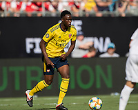 CHARLOTTE, NC - JULY 20: Eddie Nketiah advances the ball during a game between ACF Fiorentina and Arsenal at Bank of America Stadium on July 20, 2019 in Charlotte, North Carolina.