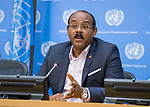 Press briefing on the CARICOM-UN High-level Pledging Conference: Building a more Climate-Resilient community<br /> Speakers; <br /> - H.E. Mr. Gaston Browne, Prime Minister of Antigua and Barbuda<br /> - H.E. Mr. Roosevelt Skerrit, Prime Minister of Dominica<br /> - Mr. Irwin LaRoque, Secretary-General for CARICOM<br /> - Mr. Achim Steiner, Administrator, UNDP