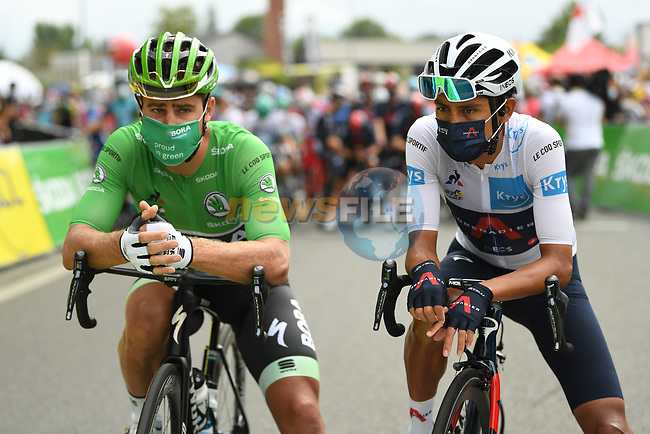 Green Jersey Peter Sagan (SVK) Bora-Hansgrohe and White Jersey Egan Bernal (COL) Team Ineos Grenadiers line up for  the start of Stage 9 of Tour de France 2020, running 153km from Pau to Laruns, France. 6th September 2020. <br /> Picture: ASO/Alex Broadway | Cyclefile<br /> All photos usage must carry mandatory copyright credit (© Cyclefile | ASO/Alex Broadway)
