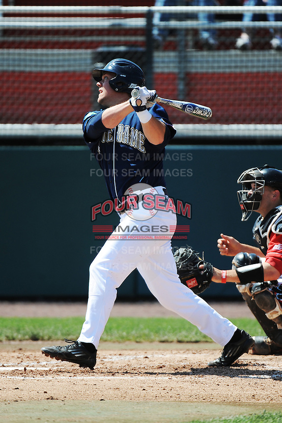 University of Notre Dame Fighting Irish outfielder Ryan Bull (19) during game against the St. John's University Redstorm at Jack Kaiser Stadium on May 12, 2013 in Queens, New York. St. John's defeated Notre Dame 2-1.      . (Tomasso DeRosa/ Four Seam Images)