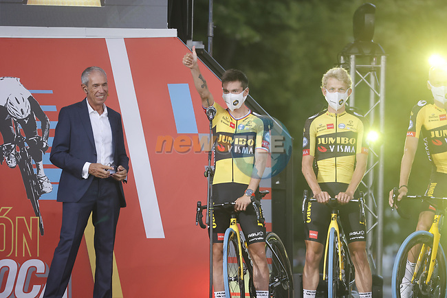 Defending Champion Primoz Roglic (SLO) Jumbo-Visma on stage at the Team Presentation before La Vuelta d'Espana 2021 held in Burgos city centre, Spain. 12th August 2021.    <br /> Picture: Luis Angel Gomez/Photogomezsport   Cyclefile<br /> <br /> All photos usage must carry mandatory copyright credit (© Cyclefile   Luis Angel Gomez/Photogomezsport)