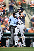 Detroit Tigers third baseman Nick Castellanos (9) after hitting a home run during a Spring Training game against the Baltimore Orioles on March 4, 2015 at Ed Smith Stadium in Sarasota, Florida.  Detroit defeated Baltimore 5-4.  (Mike Janes/Four Seam Images)