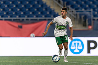 FOXBOROUGH, MA - AUGUST 26: Noah Pilato #20 of Greenville Triumph SC brings the ball forward during a game between Greenville Triumph SC and New England Revolution II at Gillette Stadium on August 26, 2020 in Foxborough, Massachusetts.
