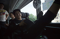 Johan Esteban Chaves (COL/Orica-GreenEDGE) relaxed at the pre-stage team meeting on the Orica-GreenEDGE teambus<br /> <br /> stage 19: Pinerolo(IT) - Risoul(FR) 162km<br /> 99th Giro d'Italia 2016