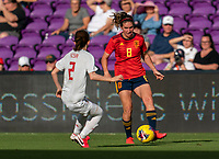 ORLANDO, FL - MARCH 05: Mariona Caldentey #8 of Spain dribbles during a game between Spain and Japan at Exploria Stadium on March 05, 2020 in Orlando, Florida.