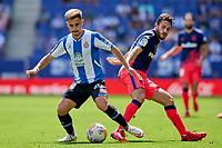 12th September 2021: Barcelona, Spain:  Oscar Melendo of RCD Espanyol turns to beat Koke of Atletico de Madrid during the Liga match between RCD Espanyol and Atletico de Madrid at RCDE Stadium in Cornella, Spain.