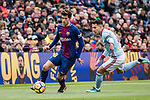 Sergi Roberto of FC Barcelona (L) in action against Hugo Mallo Novegil of RC Celta de Vigo (R) during the La Liga 2017-18 match between FC Barcelona and RC Celta de Vigo at Camp Nou Stadium on 02 December 2017 in Barcelona, Spain. Photo by Vicens Gimenez / Power Sport Images