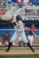 West Virginia Black Bears third baseman Raul Siri (55) at bat during a game against the Batavia Muckdogs on June 25, 2017 at Dwyer Stadium in Batavia, New York.  West Virginia defeated Batavia 6-4 in the completion of the game started on June 24th.  (Mike Janes/Four Seam Images)