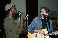 Corneille (L) and Richard Seguin (R) at the rehersal for the  SHOW DU REFUGE<br />  ; a benefit for the homeless in Montreal.<br /> <br /> (c) : JP Proulx 2006, Images Distribution