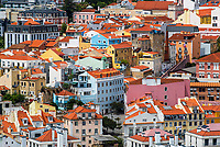 Typical, colorful old town houses of Lisbon city, viewed from Calstelo de St Jorge castle hill, Portugal Europe