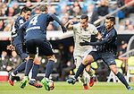 Lucas Vazquez (2nd from right) of Real Madrid battles for the ball with Luis Munoz (r) of Malaga CF during their La Liga 2016-17 match between Real Madrid and Malaga CF at the Estadio Santiago Bernabéu on 21 January 2017 in Madrid, Spain. Photo by Diego Gonzalez Souto / Power Sport Images