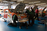 Oct 11, 2008; 1:55:44 PM;  Concord, NC, USA; Nascar Sprint Cup Series garage area and tech inspection for the Bank of America 500  at Lowe's Motor Speedway. Mandatory Credit: Joey Millard