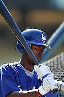 Los Angeles Dodgers shortstop Dee Gordon #9 before a game against the Houston Astros at Dodger Stadium on June 18, 2011 in Los Angeles,California. (Larry Goren/Four Seam Images)