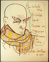 Europe/France/Bretagne/29/Finistère/Quimper : Musée des Beaux Arts, portrait de Max Jacob par Jean Cocteau 1961