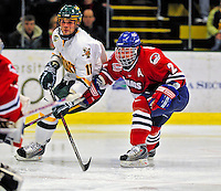 20 February 2009: University of Massachusetts Lowell River Hawks' defenseman Jeremy Dehner, a Junior from Madison, WI, in action against the University of Vermont Catamounts at Gutterson Fieldhouse in Burlington, Vermont. The teams battled to a 3-3 tie. Mandatory Photo Credit: Ed Wolfstein Photo