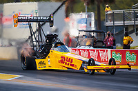 Sep 26, 2020; Gainesville, Florida, USA; NHRA top fuel driver Shawn Langdon during qualifying for the Gatornationals at Gainesville Raceway. Mandatory Credit: Mark J. Rebilas-USA TODAY Sports