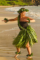 Hula on the beach at Palauea, Maui, Hawaii.