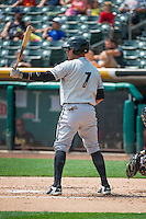 J.C. Boscan (7) of the Omaha Storm Chasers at bat against the Salt Lake Bees in Pacific Coast League action at Smith's Ballpark on August 16, 2015 in Salt Lake City, Utah. Omaha defeated Salt Lake 11-4. (Stephen Smith/Four Seam Images)