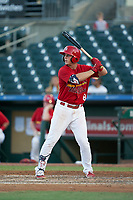 Palm Beach Cardinals Nolan Gorman (18) during a Florida State League game against the Clearwater Threshers on August 10, 2019 at Roger Dean Chevrolet Stadium in Jupiter, Florida.  Clearwater defeated Palm Beach 11-4.  (Mike Janes/Four Seam Images)