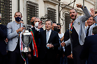 Giorgio Chiellini, Mario Draghi and Leonardo Bonucci with the cup during the visit of the Italian National team at Palazzo Chigi, where the athletes met the Italian Premier after winning the UEFA Euro 2020 cup.<br /> Rome (Italy), July 12th 2021<br /> Photo Samantha Zucchi Insidefoto