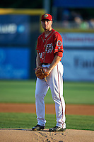 Harrisburg Senators pitcher Dakota Bacus (19) gets ready to deliver a pitch during a game against the New Hampshire Fisher Cats on July 21, 2015 at Metro Bank Park in Harrisburg, Pennsylvania.  New Hampshire defeated Harrisburg 7-1.  (Mike Janes/Four Seam Images)