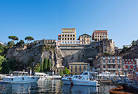 Town of Sorrento as seen from the water, Naples, Italy