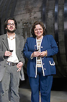 Mr Mendez and Marta Mendez, son and mother, owners, in the winery. Bodega Plaza Vidiella Winery, Las Brujas, Canelones, Uruguay, South America