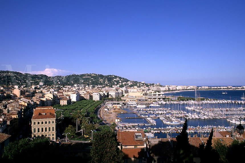 Riviera Harbor from Mountain in Cannes France
