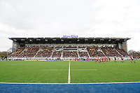 20130303 Copyright onEdition 2013©.Free for editorial use image, please credit: onEdition..General view of the East Stand during the Premiership Rugby match between Saracens and London Welsh at Allianz Park on Sunday 3rd March 2013 (Photo by Rob Munro)..For press contacts contact: Sam Feasey at brandRapport on M: +44 (0)7717 757114 E: SFeasey@brand-rapport.com..If you require a higher resolution image or you have any other onEdition photographic enquiries, please contact onEdition on 0845 900 2 900 or email info@onEdition.com.This image is copyright onEdition 2013©..This image has been supplied by onEdition and must be credited onEdition. The author is asserting his full Moral rights in relation to the publication of this image. Rights for onward transmission of any image or file is not granted or implied. Changing or deleting Copyright information is illegal as specified in the Copyright, Design and Patents Act 1988. If you are in any way unsure of your right to publish this image please contact onEdition on 0845 900 2 900 or email info@onEdition.com