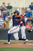 Jeremy Fernandez (32) of the Rome Braves follows through on his swing against the Kannapolis Intimidators at Kannapolis Intimidators Stadium on July 3, 2019 in Kannapolis, North Carolina.  The Braves defeated the Intimidators 13-11, (Brian Westerholt/Four Seam Images)