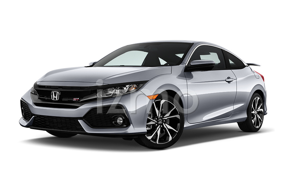 Stock pictures of low aggressive front three quarter view of a 2018 Honda Civic Si 2 Door Coupe