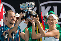 January 31, 2016: Elena Vesnina of Russian Federation and Bruno Soares of Brazil celebrate after winning the Mixed Doubles Final against Coco Vandeweghe of United States of America and Horia Tecau of Romania on day fourteen of the 2016 Australian Open Grand Slam tennis tournament at Melbourne Park in Melbourne, Australia. Vesnina and Soares won 64 46 105. Photo Sydney Low
