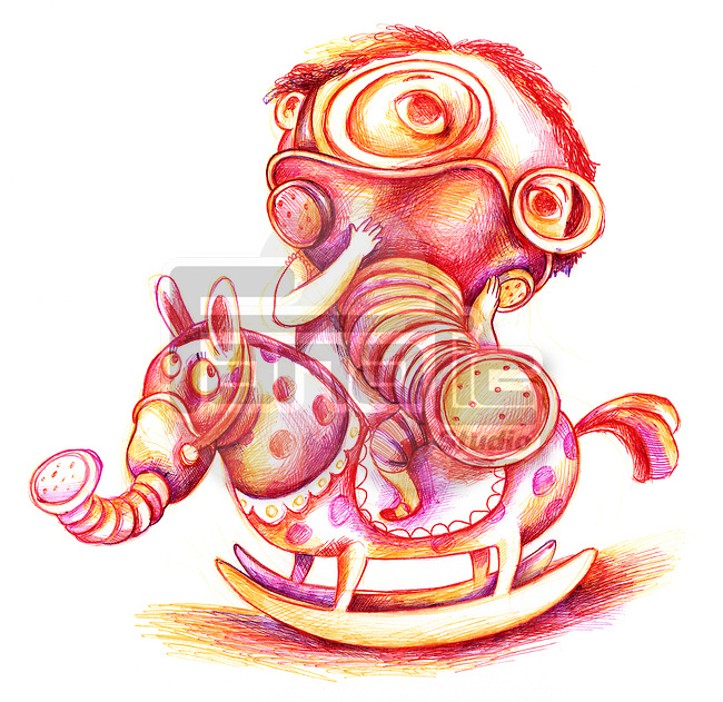 Illustrative image of boy on rocking horse wearing mask representing pollution