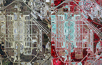 aerial map view infrared and natural color comparison Dallas Fort Worth International airport, Irving, Texas