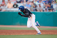 Delvin Zinn (3) of the Tennessee Smokies takes off for second base during the game against the Chattanooga Lookouts at Smokies Stadium on July 31, 2021, in Kodak, Tennessee. (Brian Westerholt/Four Seam Images)